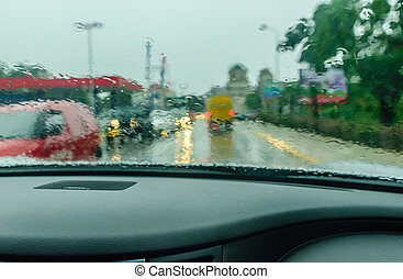 View from the car glass on the rainy day