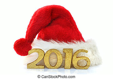 2016 and Christmas hat - golden figures 2016 on a santa...