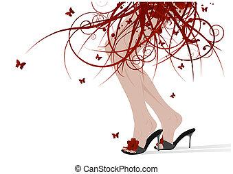 femme, pieds, floral, jupe
