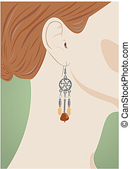 Famale ear with jeweller - Portrait of the redhead young...