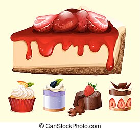 Different kind of desserts illustration
