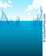 Global warming with iceberg illustration