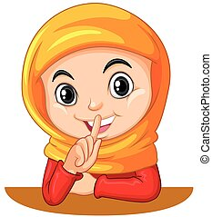 Muslim girl gesturing quiet sign illustration