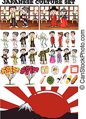 Asian culture with people in costume illustration