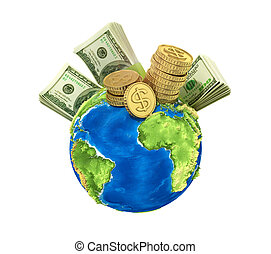 Concept of world money Money on the planet on a blue...