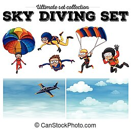 People doing sky diving