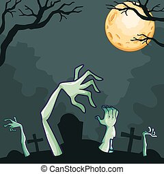 Zombies coming out of the grave at night illustration
