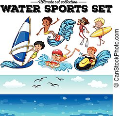 Different kind of water sports illustration