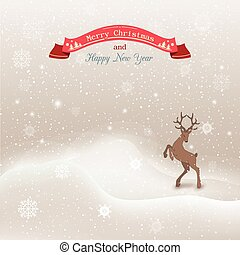 Vector background winter Christmas landscape with snow drifts, deer, greeting card.