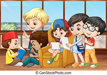 Children reading and working in group illustration
