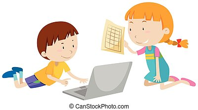 Boy and girl working on computer