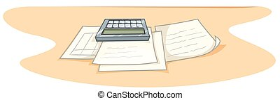 Documents and calculator on desk illustration
