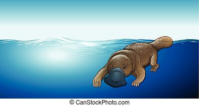 Platypus swimming in the sea illustration