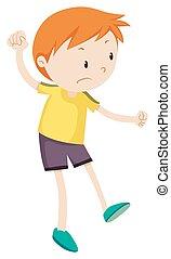 Little boy looking upset illustration