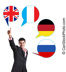 Businessman and bubbles with countries flags - Young man...