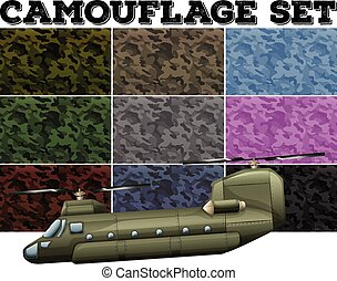 Comouflage set with military theme - Camouflage set with...
