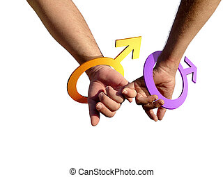 Gay Men - Two gay men holding hands with male simbol as...