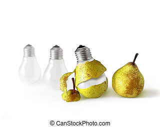 Peeled Bulb - Pear shape light bulb with pear peel.