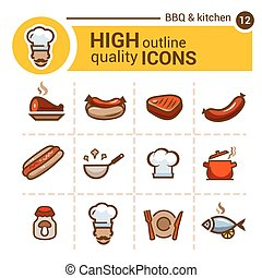 food color icons set - Color flat icons of food and kitchen,...
