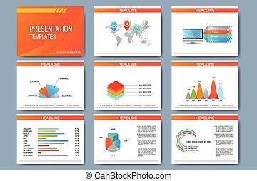 Set of vector templates for presentation slides. Modern...