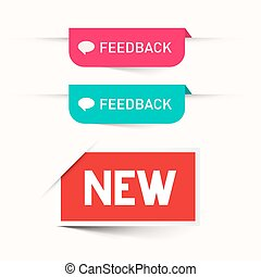 Feedback and New Paper Labels - Stickers Set - Web Icons Isolated on White Background
