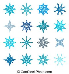 Snowflakes Set - Paper Flat Design Illustration