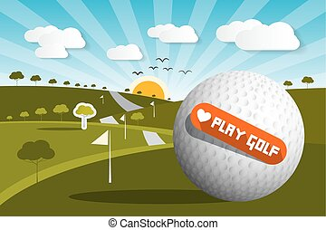 Golf Ball on Field with Sun and Sky and Love Play Golf Title