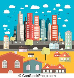 City - Town Easy Flat Design Illustration with Houses  - Buildings and Street with Cars