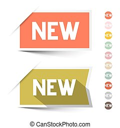 New Retro Paper  Labels - Stickers Set Isolated on White