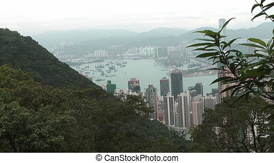 Hong Kong skyline and Victoria harbor - View from Victoria...