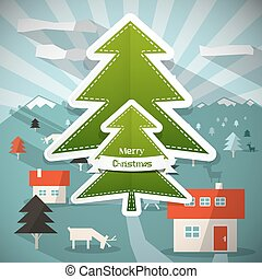 Merry Christmas  Cartoon Illustration with Paper Trees - Deer and Mountain Landscape