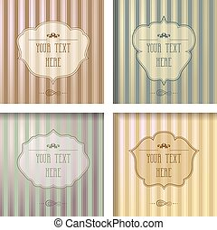 Vintage frame collection on a striped background