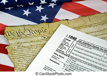 American Documents - Income tax form and U.S. Constitution...