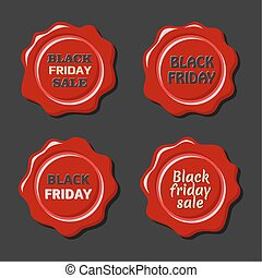Black friday vector set of red wax stamps - Black friday...