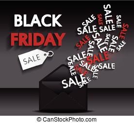 Black Friday sale envelope Vector illustration