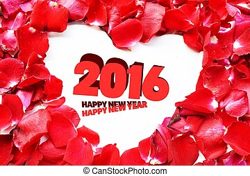 new year 2016 roses petal , blank space for love messages