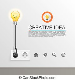Lamp plugged in art banner. Vector illustration