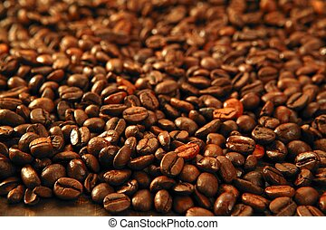 Coffee beans in warm golden brown background - Coffee beans...