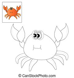 Picture for coloring - crab. - Vector illustration. The...