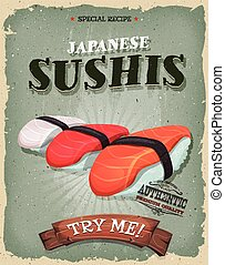 Grunge And Vintage Japanese Sushis Poster - Illustration of...