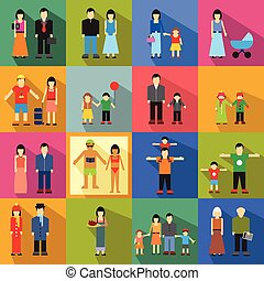 Family flat icons