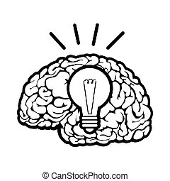 Human brain sign on a white background