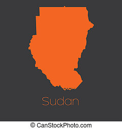 Map of the country of Sudan - A Map of the country of Sudan