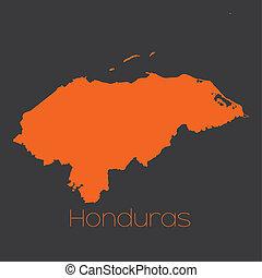 mapa, de, el, país, de, honduras,