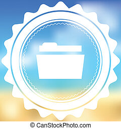 White Icon Isolated on a Blurred Background - Folder - A...