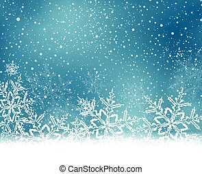 Blue white Christmas, winter background with snow flakes