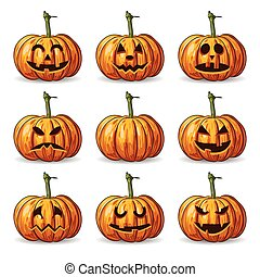 vector set of nine Halloween pumpkin faces