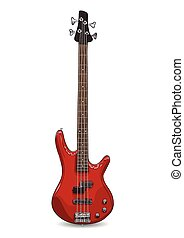 vector realistic illustration of red bass guitar. EPS