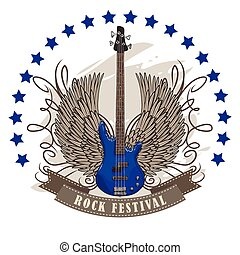 vector poster for rock festival with winged guitar