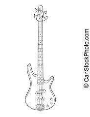 vector illustration of bass guitar in contou